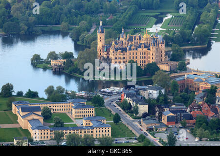 schloss and marstall in schwerin as aerial view from balloon - Stock Photo