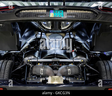 An engine inside the car. Koenigsegg Supercar Factory, Angelholm, Sweden. Architect: -, 2016. - Stock Photo