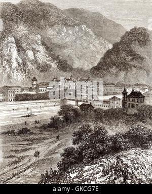 Cityscape of Bad Ems, Rheinland Pfalz, Germany, 19th century - Stock Photo