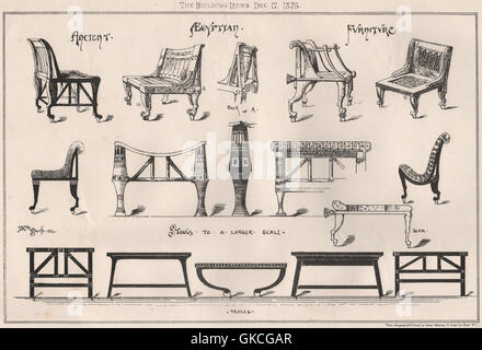 ... Ancient Egyptian Furniture (2), Antique Print 1875   Stock Photo