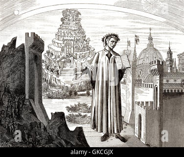 Dante Alighieri, 1265 - 1321, an Italian poet and philosopher - Stock Photo