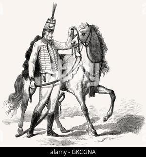 Hussar, illustration, 19th century - Stock Photo