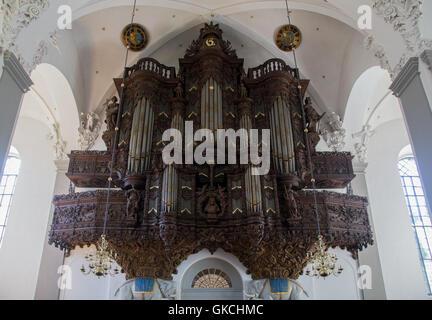 Copenhagen, Denmark - August 17, 2016: Pipe Organ inside the Vor Frelsers Church - Stock Photo