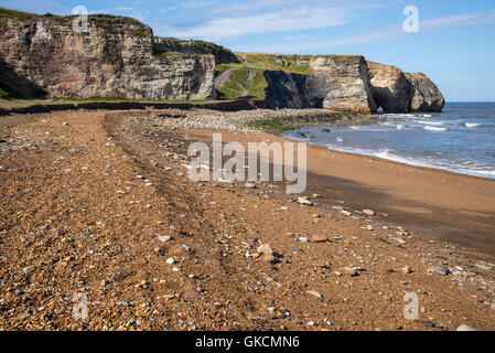 Blast Beach and sea cliffs at Nose's Point, Dawdon, County Durham, UK - Stock Photo