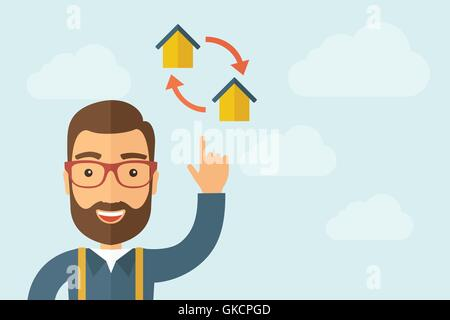 Man pointing the two houses icon - Stock Photo