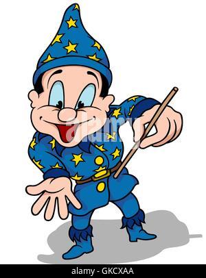 hand drawn cartoon character wizard magic wand stock photo