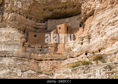 Closeup view of the Native American cliff dwellings in Montezuma Castle National Monument, Arizona - Stock Photo