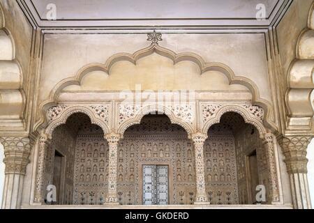 Emperor's Alcove, Diwan-i-Am, Hall of Public Audiences, Red Fort, Agra, UNESCO World Heritage Site, Uttar Pradesh, India,