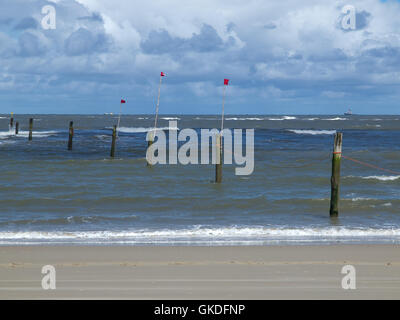 the beach of the german island of norderney - Stock Photo