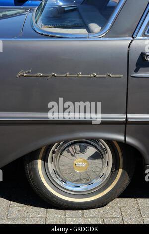 Detail of an Opel Kapitän P 2,6 classic car from 1950s - Stock Photo