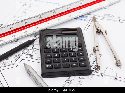 Project planning construction plan with pocket calculator for Home build calculator