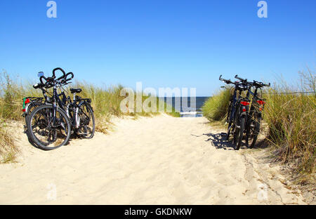 bicycles on the beach - Stock Photo