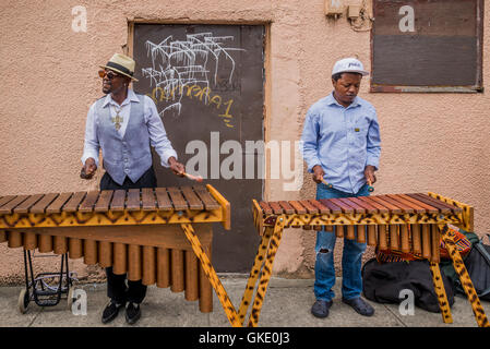 Marimba outside Joe's Cafe, Commercial Drive, Vancouver, British Columbia, Canada - Stock Photo