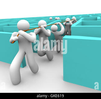 Leading the Team Out of a Maze - Stock Photo