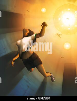 Alien abduction. Computer artwork of a humans being abducted by aliens in a flying saucer. Alongside the increased - Stock Photo