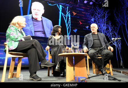 David Gilmour being interviewed at the Hay Festival, Hay-On-Wye, Powys, Wales  Featuring: David Gilmour Where: Hay - Stock Photo