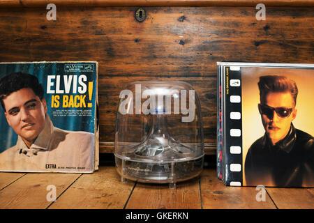 Elvis Presley and The Orange Juice LP records - Stock Photo
