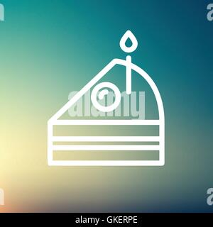 Slice of Cake with candle thin line icon - Stock Photo