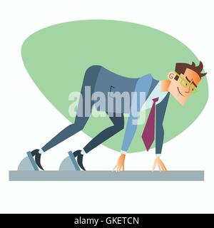 Businessman start treadmill business sports competition - Stock Photo