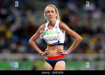 Great Britain's Eilish McColgan reacts after the Women's 5000m final at Olympic Stadium on the fourteenth day of - Stock Photo