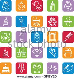 Set of flat color icons baby and accessories - Stock Photo