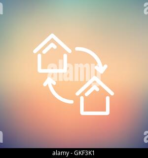 Two little houses thin line icon - Stock Photo