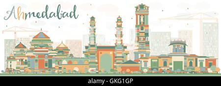 Abstract Ahmedabad Skyline with Color Buildings. Vector Illustration. Business Travel and Tourism Concept with Historic - Stock Photo