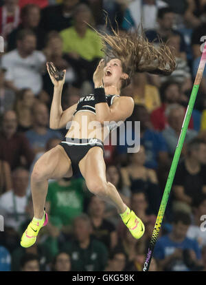 Rio de Janeiro, RJ, Brazil. 19th Aug, 2016. OLYMPICS ATHLETICS: Bronze medal winner Eliza McCartney (NZL) react - Stock Photo