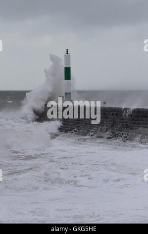 Aberystwyth Wales UK, Saturday 20 August 2016   At gale force winds and high tide bring huge waves crashing against - Stock Photo
