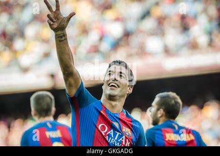 Barcelona, Catalonia, Spain. 20th Aug, 2016. FC Barcelona forward SUAREZ celebrates a goal during the BBVA league - Stock Photo