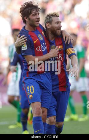 Barcelona, Catalonia, Spain. 20th Aug, 2016. FC Barcelona forward MESSI celebrates a goal with theammates during - Stock Photo