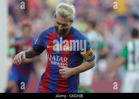 Barcelona, Catalonia, Spain. 20th Aug, 2016. FC Barcelona forward MESSI celebrates a goal during the BBVA league - Stock Photo