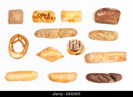 set from various freshly baked buns and loaves on white background - Stock Photo