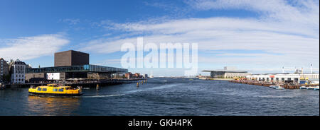 Copenhagen, Denmark - August 17, 2016: View of the harbor with the playhouse, opera and paper island - Stock Photo