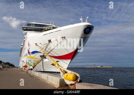 Copenhagen, Denmark - August 17, 2016: Cruise ship Norwegian Star anchored in Copenhagen harbour - Stock Photo