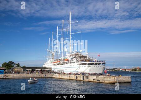 Copenhagen, Denmark - August 17, 2016: Cruise ship Wind Surf anchored in Copenhagen harbour - Stock Photo