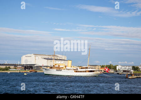 Copenhagen, Denmark - August 17, 2016: The Danish Royal Yacht Dannebrog anchored in Copenhagen harbour - Stock Photo