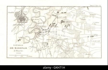 Alessandria Italy Map.Battle Of Marengo 1800 Plate 3 Alessandria Italy 1819 Antique
