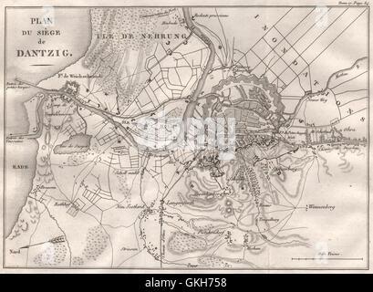 SIEGE OF DANZIG 1807. Poland, 1820 antique map - Stock Photo