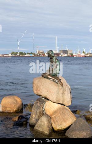 Copenhagen, Denmark - August 17, 2016: The famous Little Mermaid statue by artist Eddvard Eriksen - Stock Photo