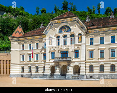 The old parliament in Vaduz the Principality of Liechtenstein, Europe - Stock Photo