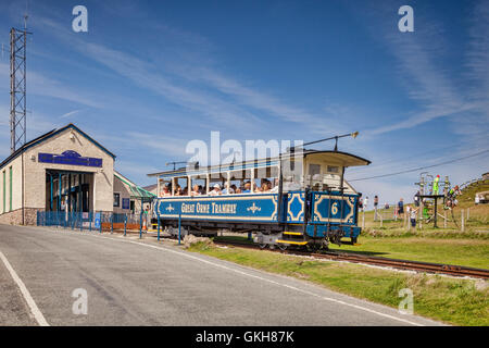 A passenger car of the Great Orme Tramway approaches the Summit Station on Great Ormes Head, Llandudno, Conwy, Wales, - Stock Photo