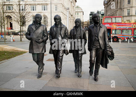 The Beatles statue sculpure at Pier Head on Liverpools waterfront - Stock Photo