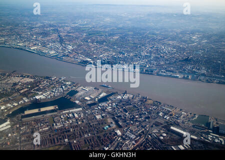 aerial view of Liverpool, birkenhead and the river Mersey - Stock Photo