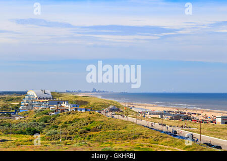 Aerial view towards The Hague and Scheveningen, the pier and the industrial area of Maasvlakte in the background. - Stock Photo