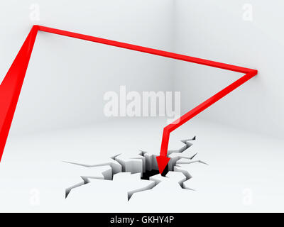 jumping away from walls red pointer breaks a floor - Stock Photo