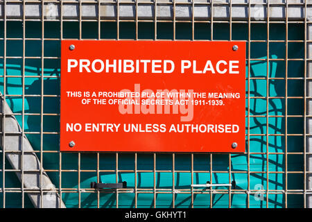 sign warning of a prohibited place under the official secrets act - Stock Photo