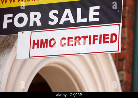 for sale hmo certified sign outside buy to let property in the holylands university area of belfast - Stock Photo
