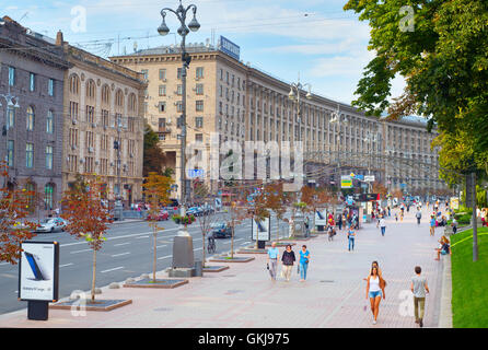 People walking on the Khreschatyc street. Khreshchatyk is the main street of Kiev, Ukraine - Stock Photo