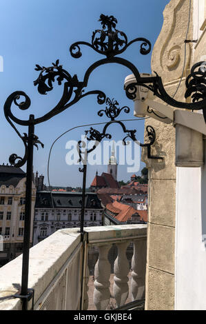 On the narrow parapet part of the Bratislava Old Town Hall in Bratislava old town,Bratislava, Slovakia. - Stock Photo